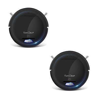 Pyle PUCRC26B PureClean Smart Automatic Robot Vacuum Cleaning System for Indoor Floor Surfaces with 1200pa Suction & 90 Minute Runtime, Black (2 Pack)