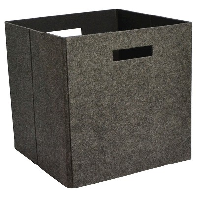 Fabric Cube Storage Bin 13  - Dark Gray Felt - Threshold™