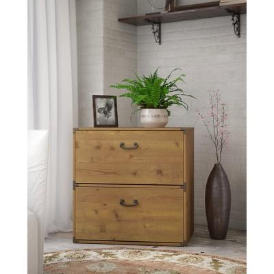 Bush Furniture 2 Drawer Kathy Ireland Office Ironworks Lateral File Cabinet  In Vintage Golden Pine