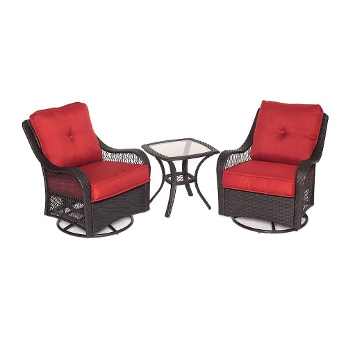 Orleans 3pc All-Weather Wicker Outdoor Patio Chat Set - Autumn Berry - Hanover - image 1 of 5