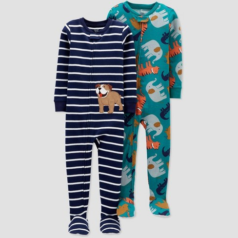 Toddler Boys' 2pk Stripped Dog Footed Pajama - Just One You® made by carter's Blue - image 1 of 1