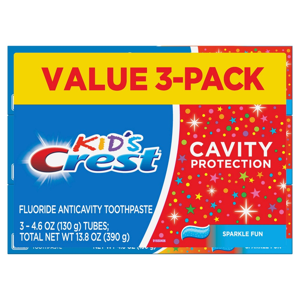 Image of Crest Kid's Cavity Protection Sparkle Fun Flavor Toothpaste - Pack of 3 - 4.6oz