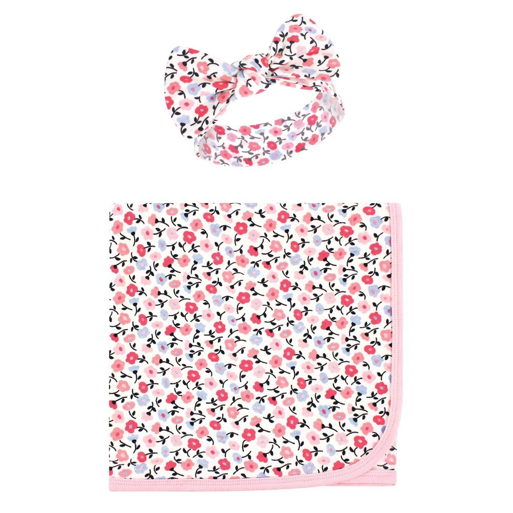 Touched By Nature Unisex Baby Organic Cotton Swaddle Blanket And Headband Ditsy Floral One Size