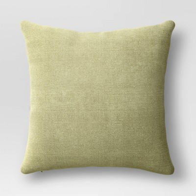 Washed Linen Square Throw Pillow Green - Threshold™