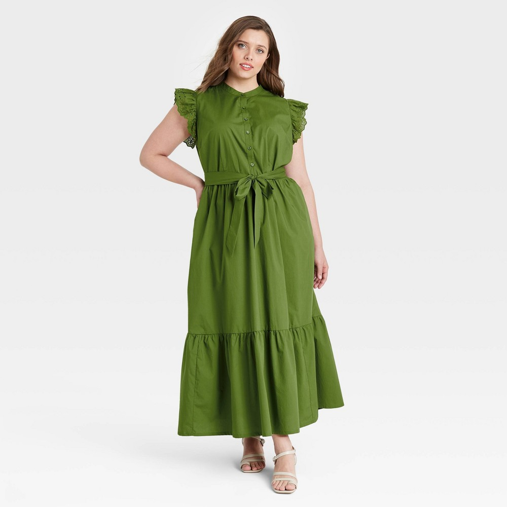 Women 39 S Plus Size Ruffle Short Sleeve A Line Dress Who What Wear 8482 Green 1x
