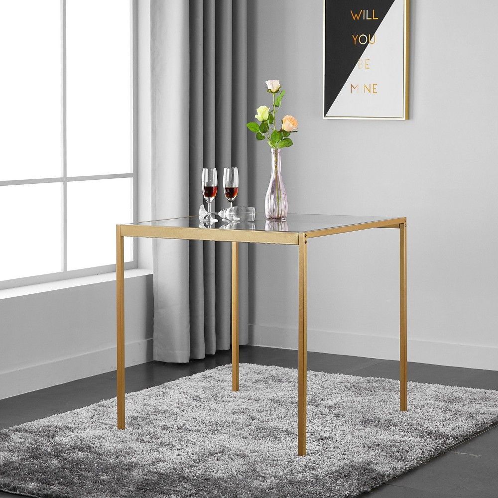 Tempered Glass and Metal Dining Table (Small) Gold - Project 101