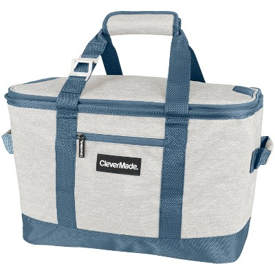 CleverMade Tahoe Soft Sided Leakproof Collapsible 32qt Cooler Bag - Light Gray/Denim