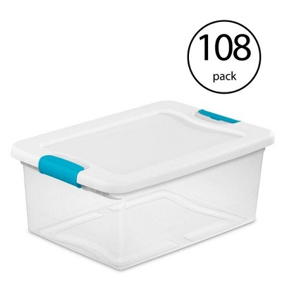 Sterilite 15 Quart Clear Plastic Stackable Storage Tote Container (108 Pack)