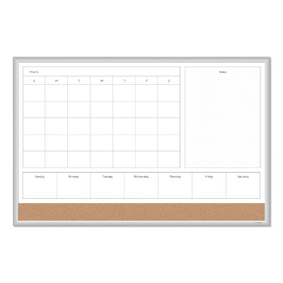 U Brands 4N1 Magnetic Dry Erase Combo Board, 36 x 24, White/Natural 3891U0001