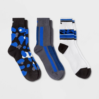 Pair of Thieves Men's 3pk Striped Camo Crew Athletic Socks - Black/White