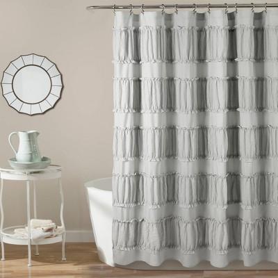 Nova Ruffle Shower Curtain Gray - Lush Décor