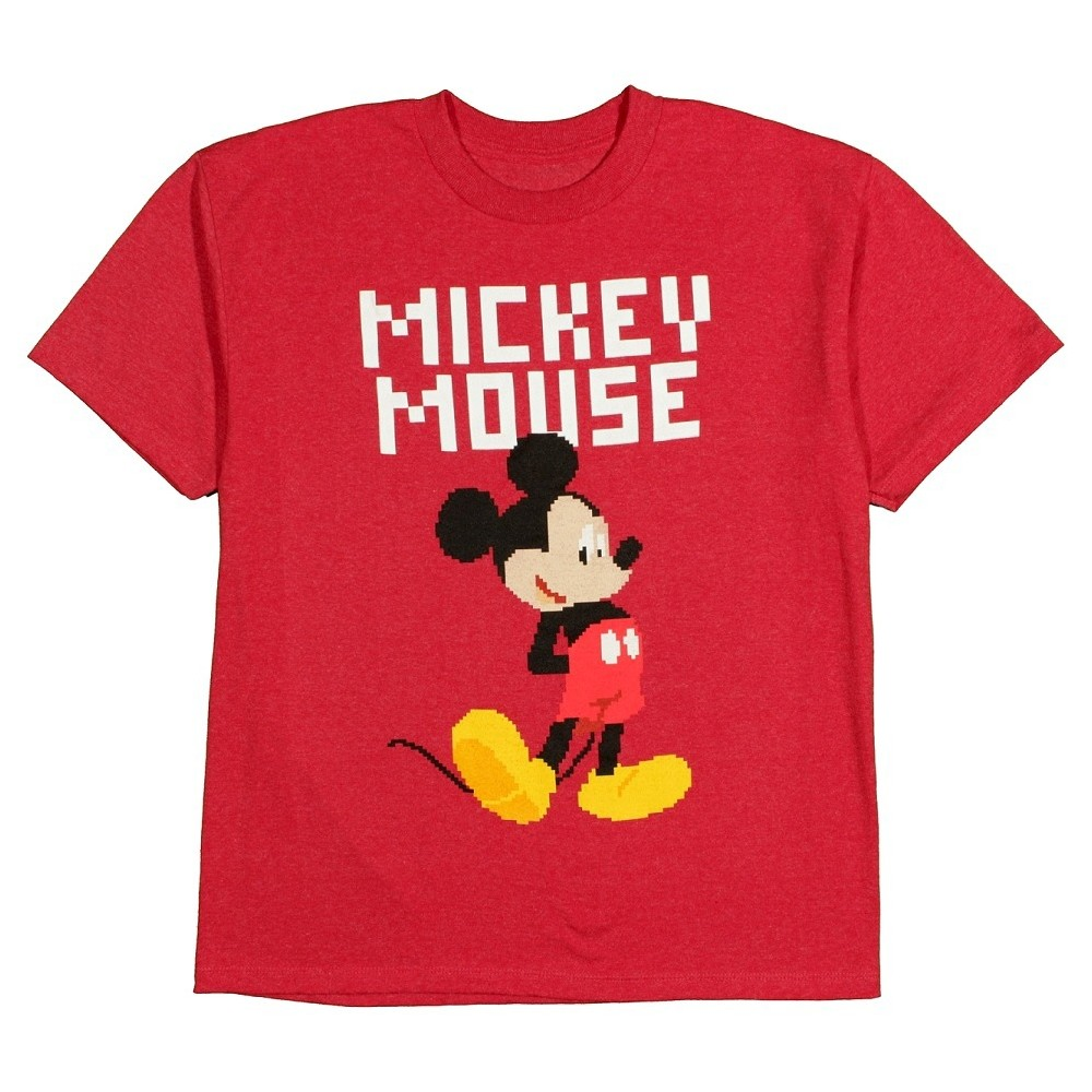 Boys' Mickey Mouse Pixel Graphic T-Shirt - Red L