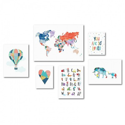 Americanflat - Colorful Children's Artwork Canvas Gallery Wall Set by Elena David