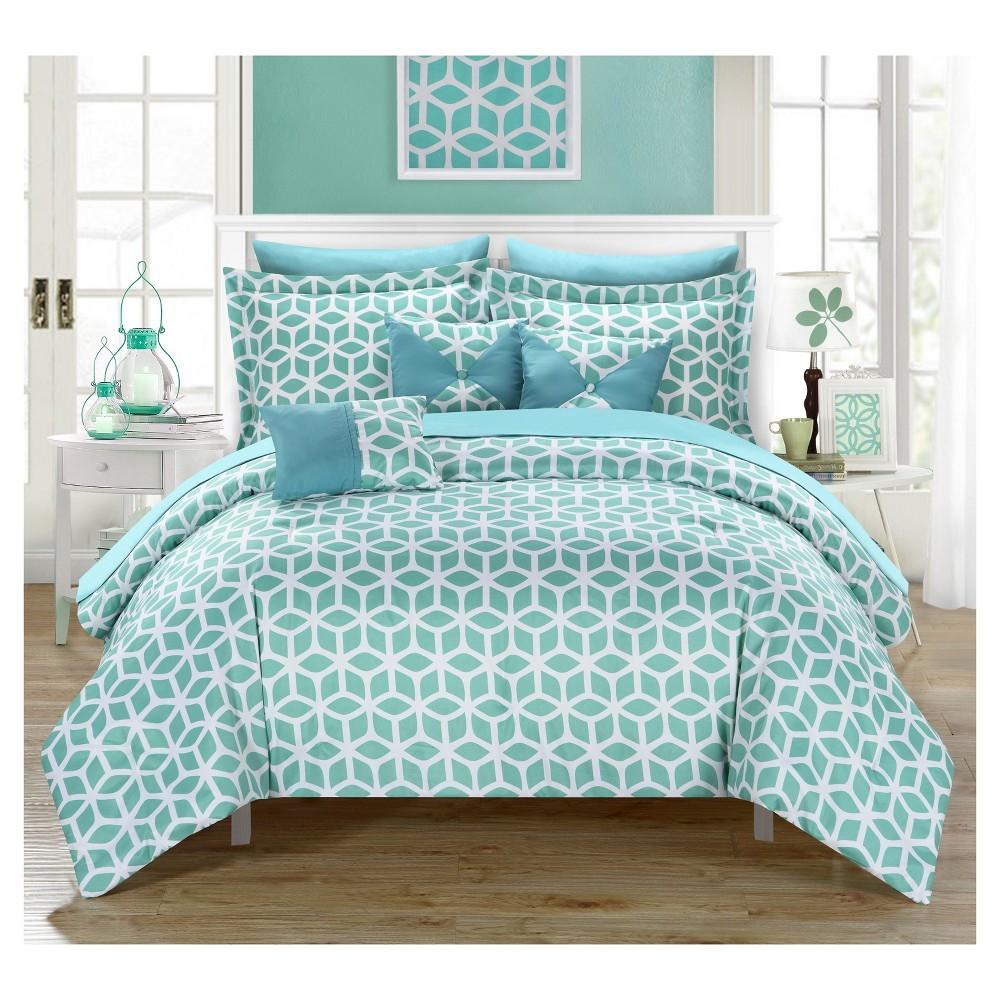 Ritchelle Geometric Diamond Printed Reversible Comforter Set 10 Piece (King) Green - Chic Home Design