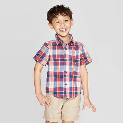 565eb4b3b Toddler Boys' Slub Poplin Multi Plaid Short Sleeve Button-Down Shirt - Cat &