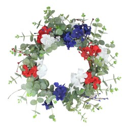 Northlight Patriotic Hydrangea Wreath with Foliage, Red, White and Blue 20-Inch