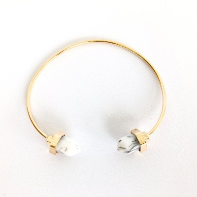 Sanctuary Project Semi Precious White Howlite Pillar Cuff Bracelet Gold