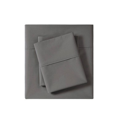 California King Solid Peached 100% Cotton Percale Sheet Set Charcoal