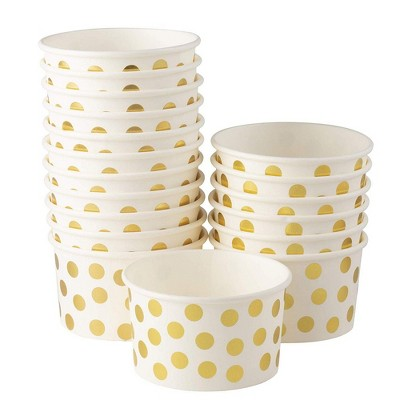 Juvale 100-Pack Gold Polka Dot Disposable Paper Ice Cream Yogurt Cups Bowls 8 oz Party Supplies