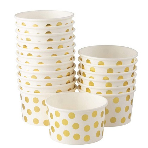 Juvale 100-Pack Gold Polka Dot Disposable Paper Ice Cream Yogurt Cups Bowls 8 oz Party Supplies - image 1 of 3