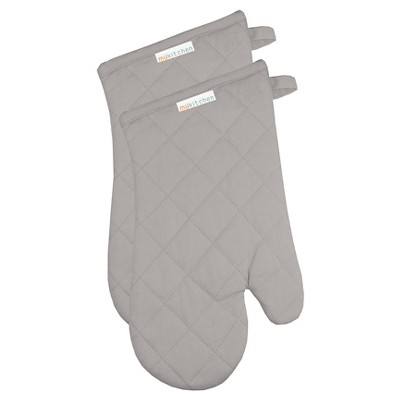 Herringbone Oven Mitt Set Nickel - Mu Kitchen
