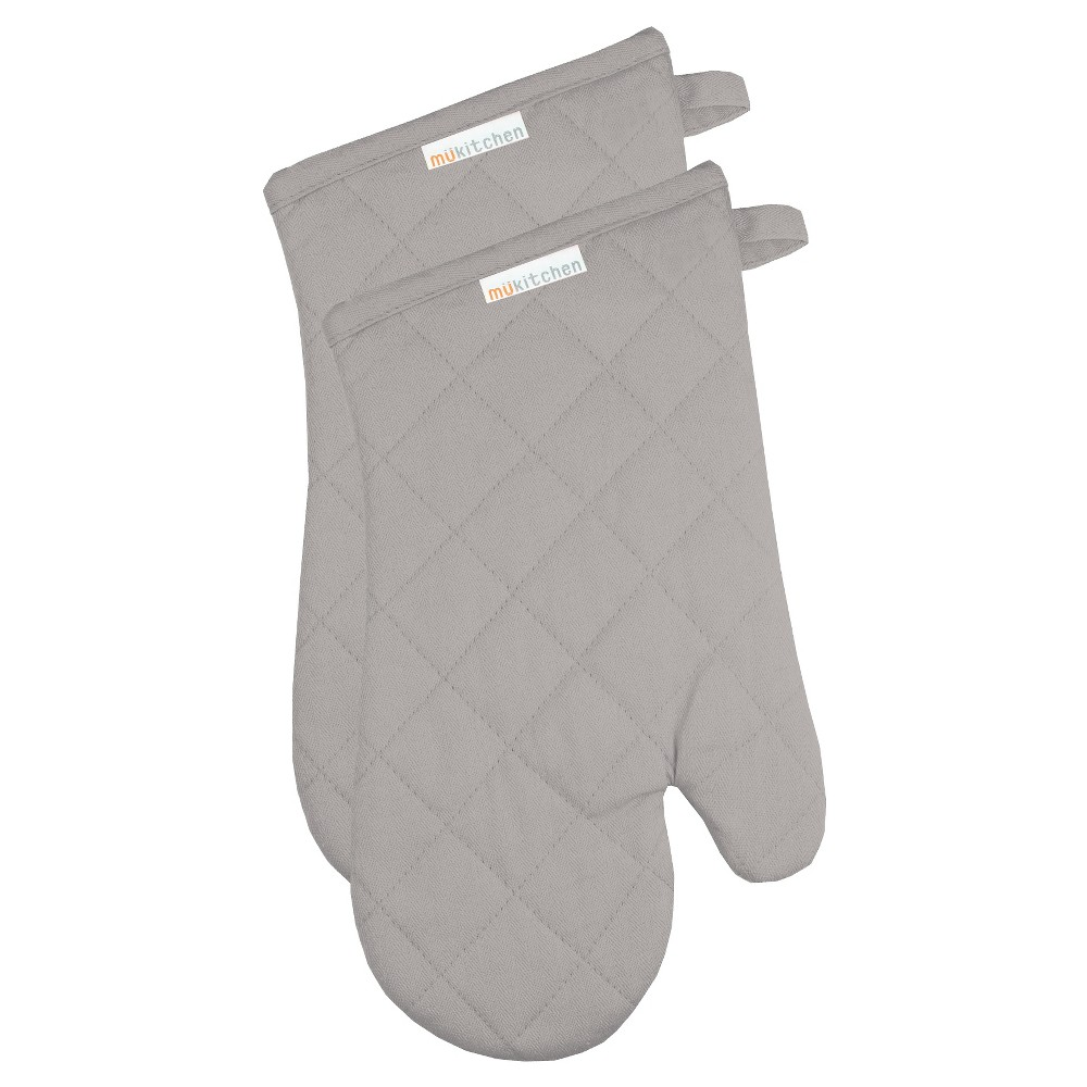 Herringbone Oven Mitt Set Nickel - Mu Kitchen, Light Gray