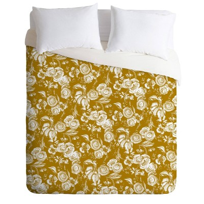 Full/Queen Pattern State Floral Sketch Comforter Set Gold - Deny Designs