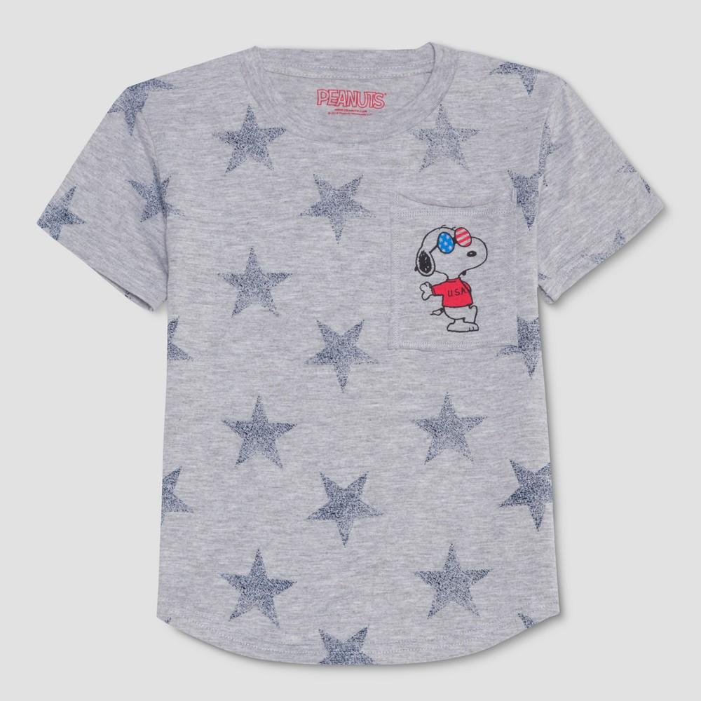 Toddler Boys' Peanuts Americana Print Stars Joe Cool Short Sleeve T-Shirt - Gray 3T