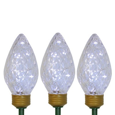 Northlight 3ct Clear LED Jumbo C9 Bulb Christmas Pathway Marker Lawn Stakes - 3 ft White Wire