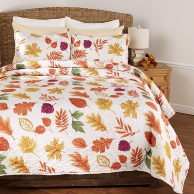 Lakeside Natural Country Leaves Rustic Quilt Set - Full/Queen - Set of 3