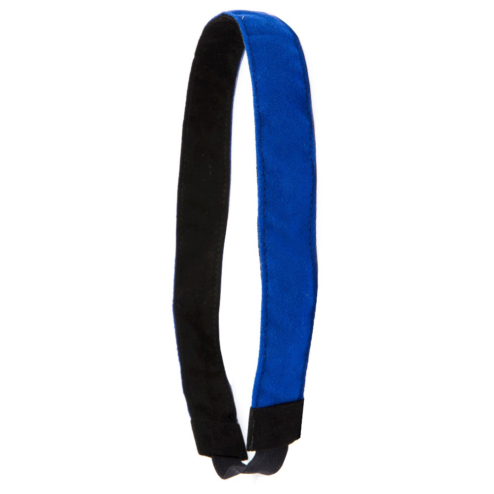 Image of La-ta-da Reversible Black & Blue Faux Suede Head Wrap 1ct