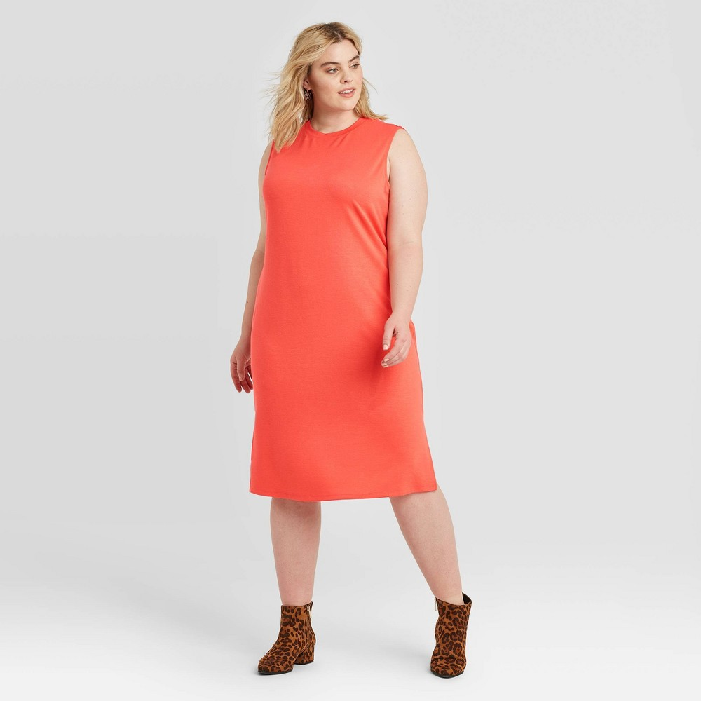 Women's Plus Size Sleeveless Crewneck Knit Dress - Ava & Viv Coral 2X, Pink was $19.99 now $13.99 (30.0% off)
