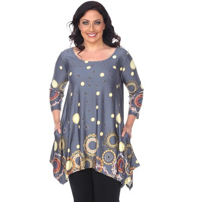 Women's Plus Size 3/4 Sleeve Printed Erie Tunic Top with Pockets - White Mark