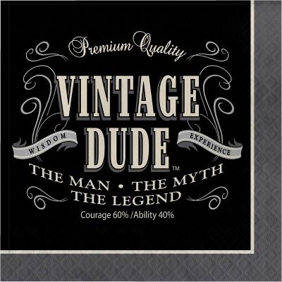 48ct Vintage Dude Napkins Gray