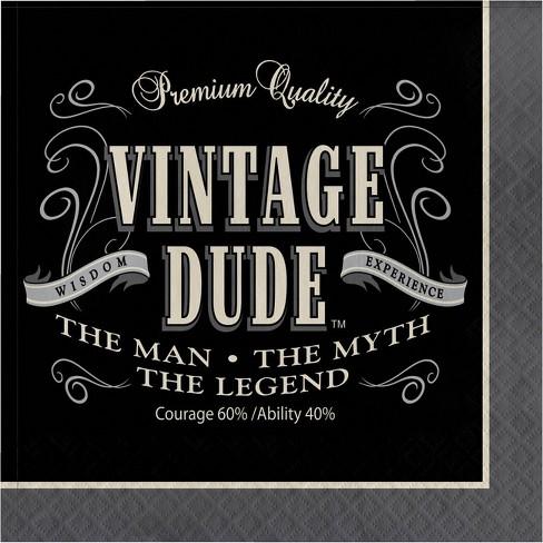 48ct Vintage Dude Napkins Gray - image 1 of 3