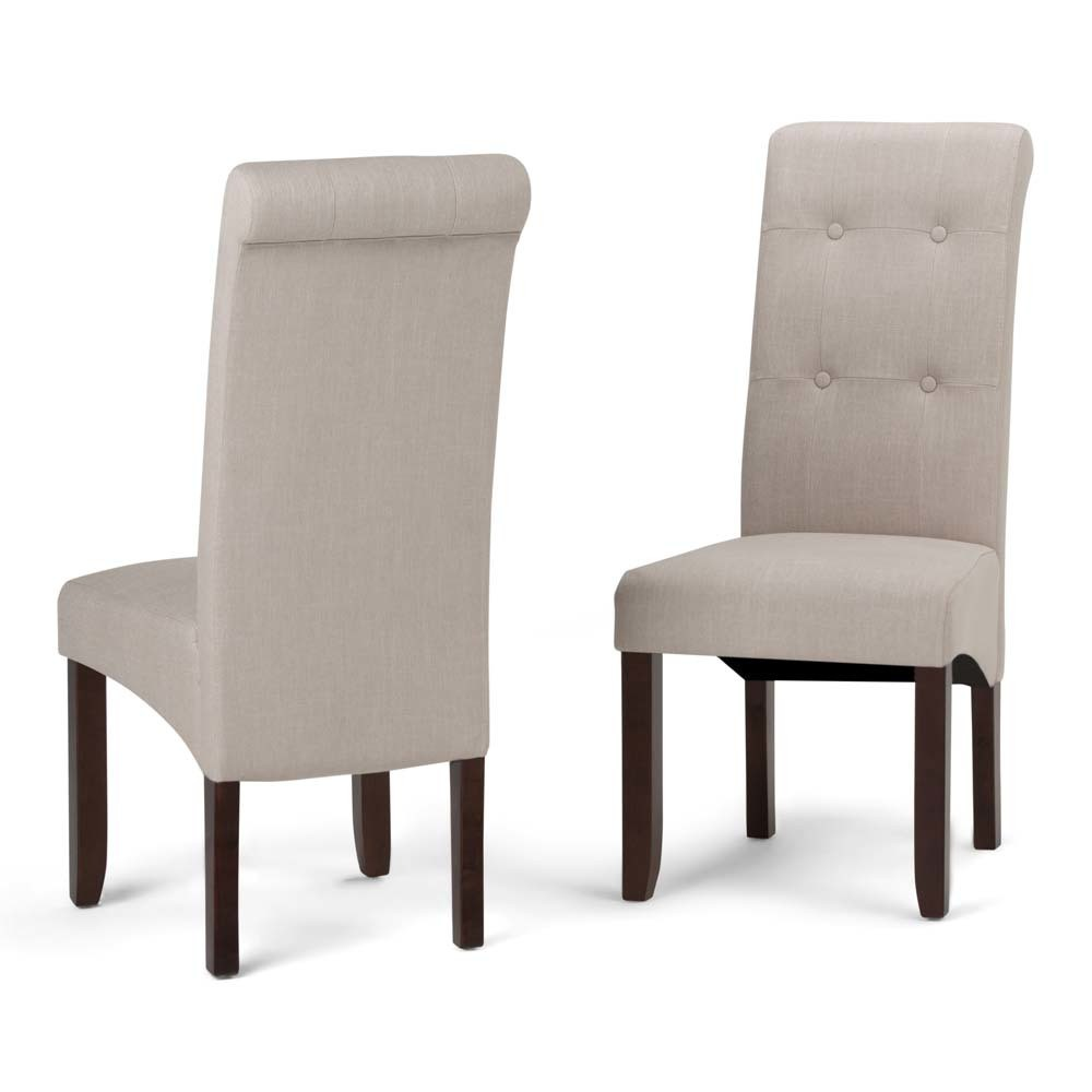 Essex Deluxe Tufted Parson Chair Set of 2 Natural Linen Look Fabric - Wyndenhall
