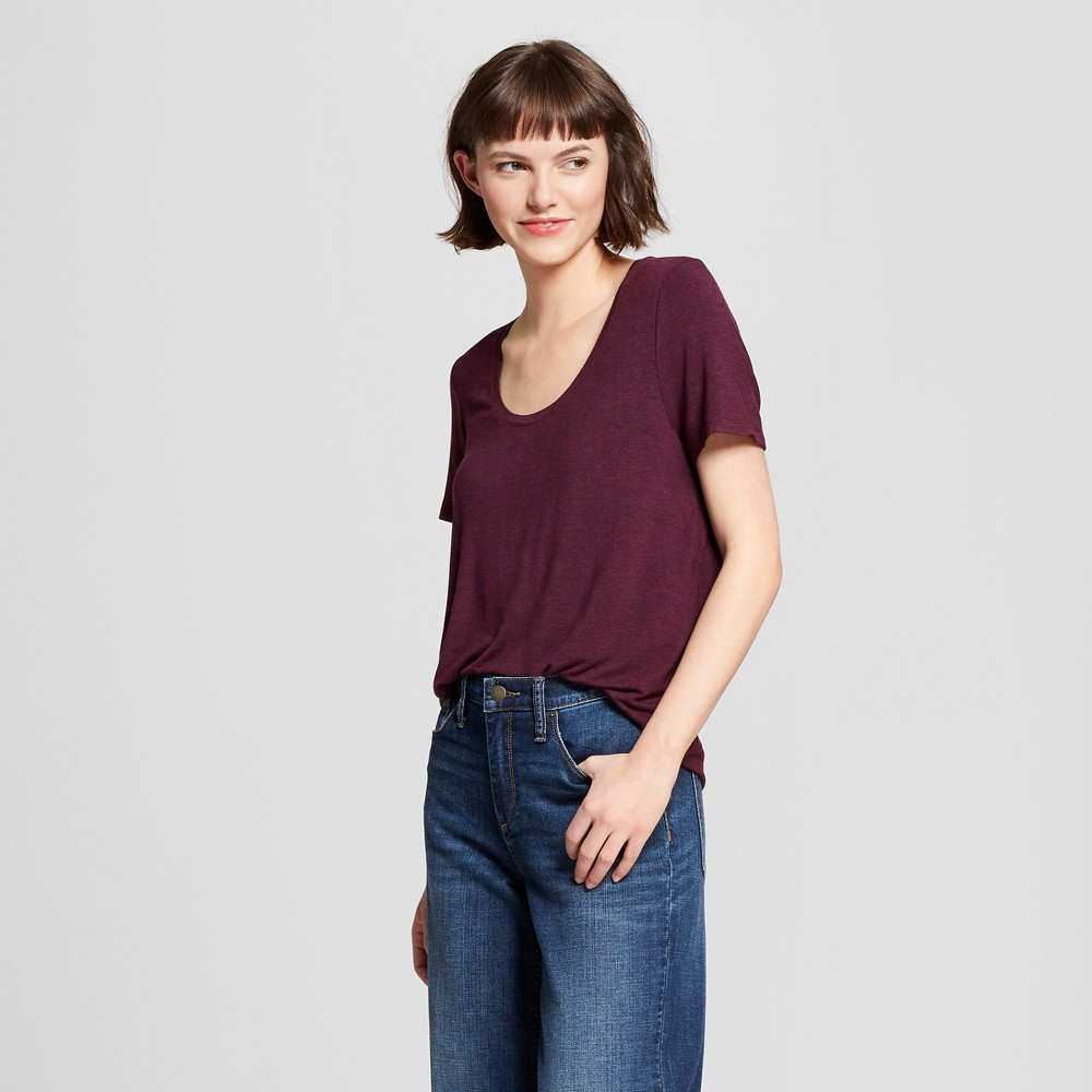 Women's Any Day Short Sleeve Scoop T-Shirt - A New Day Burgundy Heather Xxl