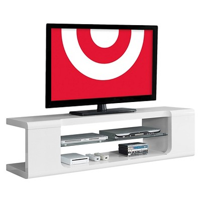 High Glossy TV Stand with Tempered Glass - White - EveryRoom