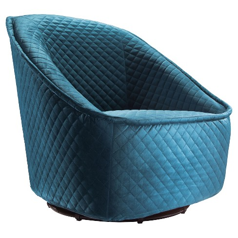 Retro Quilted Upholstery Club Chair - Aquamarine - ZM Home - image 1 of 5