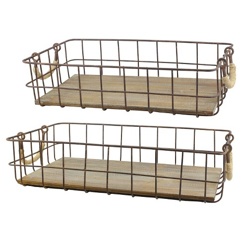 Farmhouse Wire Basket   Stonebriar Farmhouse Metal Wire Cage And Wood Baskets Set Of 2