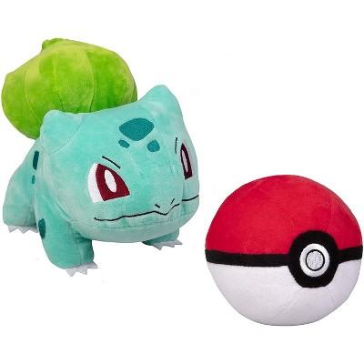 "Jazwares Pokemon Bulbasaur 8"" Plush with Soft Pokeball, Set of 2"