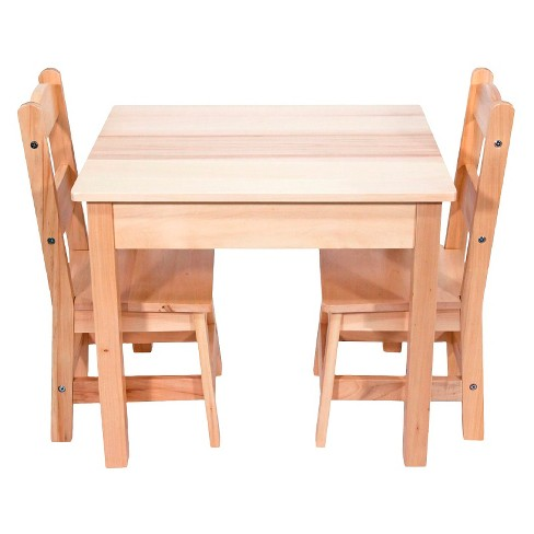 Melissa Doug Solid Wood Table And 2 Chairs Set Light Finish Furniture For Playroom Target
