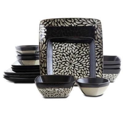 16pc Stoneware Wild Petal Square Dinnerware Set Black - Elama