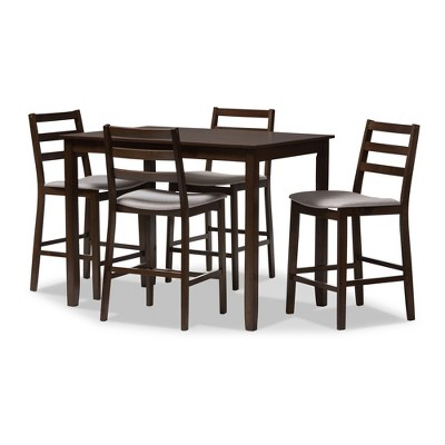 5pc Nadine Modern and Contemporary Walnut Finished Fabric Upholstered Pub Set Light Gray, Brown - Baxton Studio