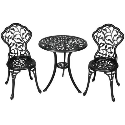 Sunnydaze Floral Design Cast Aluminum Outdoor Patio Bistro Set, Black, 3pc