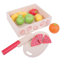 Bigjigs Toys Cutting Fruit Crate Wooden Role Play Toy Set of 18