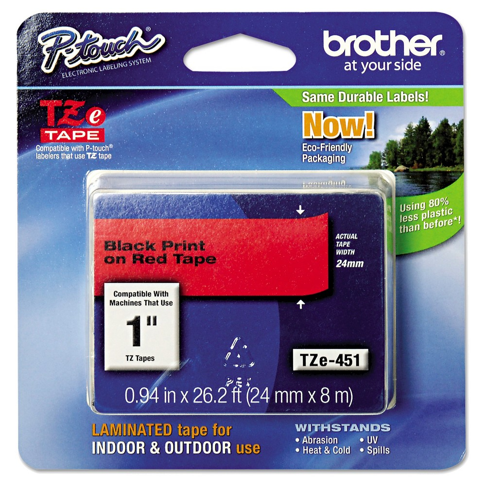 Image of Brother P-Touch TZe Standard Adhesive Laminated Labeling Tape - Black/Red