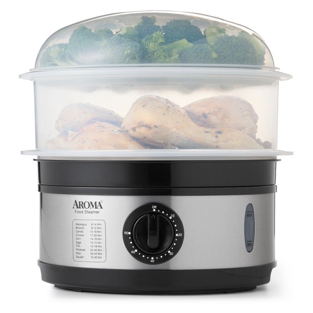 Image of Aroma 5qt 2 Tiered Food Steamer - Afs-186, Black