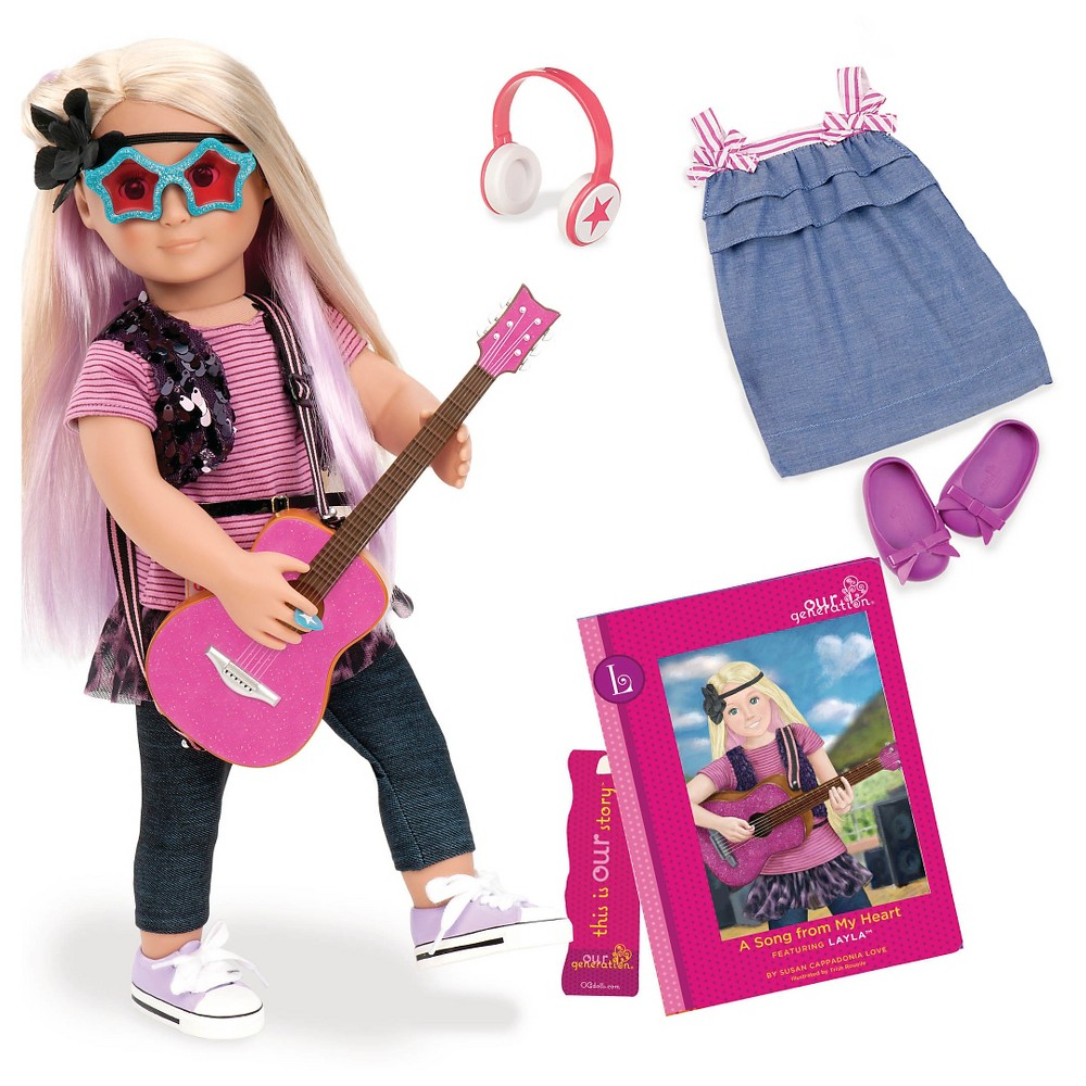 Our Generation 18 34 Posable Rock Star Doll With Storybook Layla