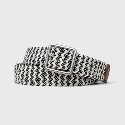 Men's Striped Web Leather Belt   Goodfellow & Co Black/White by Goodfellow & Co Black/White
